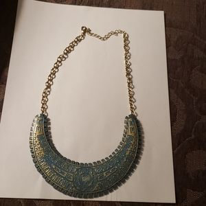Necklace, turquoise and gold